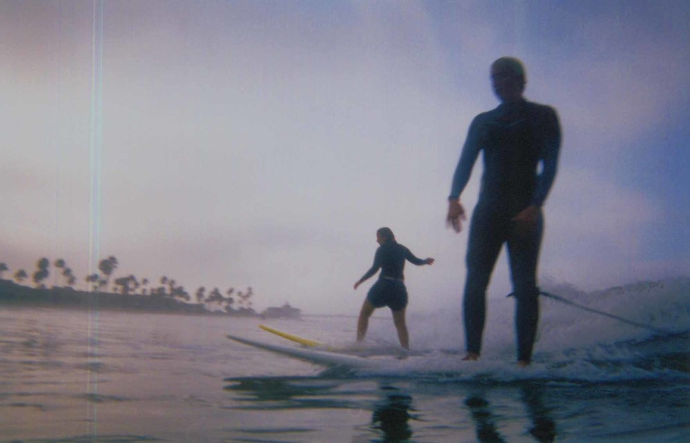 Dale and Ashley surfing a small California day, circa 2007