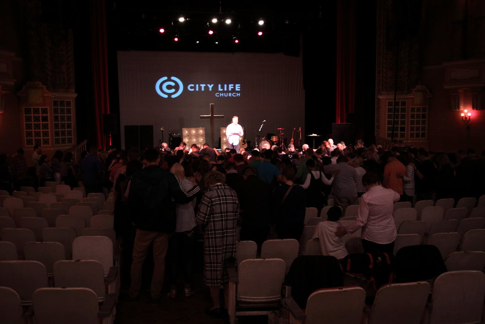 Hundreds of people from City Life Church, Wichita, praying over our team a few days we followed God to San Diego.