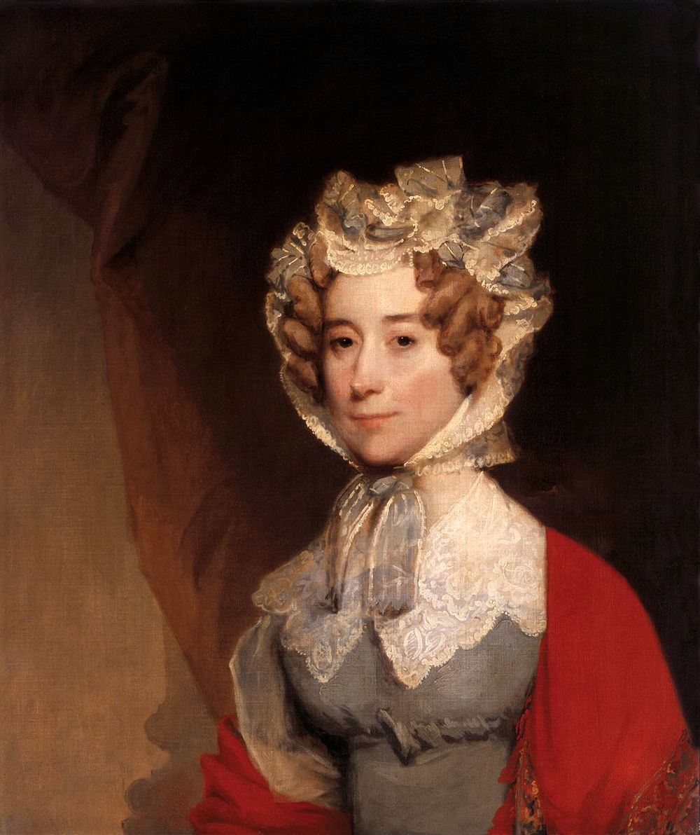 Louisa Catherine Adams, by Gilbert Stuart, circa 1821-26. Louisa was about 50 years old at the time this was painted, during John Adams's term as President. This portrait is currently in the White House.   Image credit: The White House Historical Association, via Wikimedia Commons. Oil on canvas. This image is in the public domain.