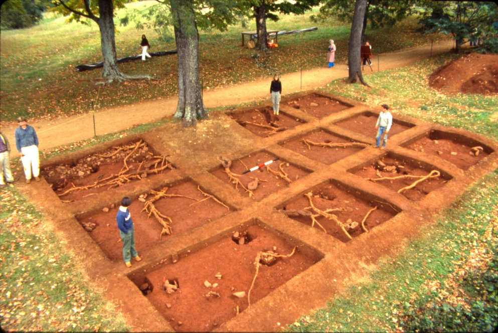 "Building ""i"" Carpenter's shop, Overhead view of the post-in-ground, dirt-floored carpenter's shop, excavated in 1986 ©Thomas Jefferson Foundation at Monticello"