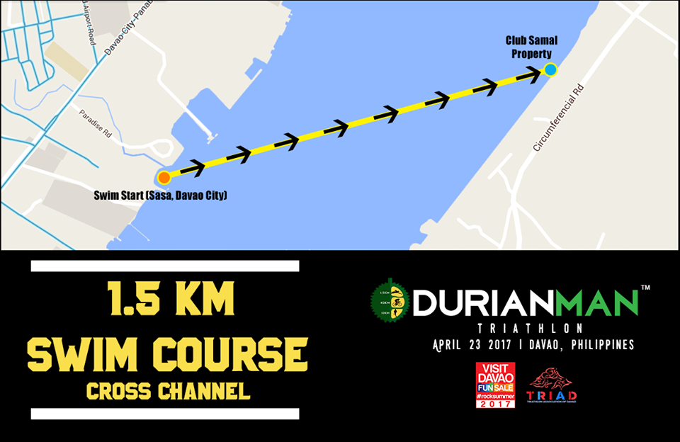 The 1.5KM point-to-point cross channel swim will be the most challenging leg for the DURIANMAN® Triathlon. Athletes will have to cross the Pakiputan Channel from Sasa, Davao City to Brgy. Caliclic, Samal. Even with the support of boats, jetskis, and kayaks (not to mention the 1.5km buoy lines on both sides), it could still be a difficult swim depending on the weather on race day.