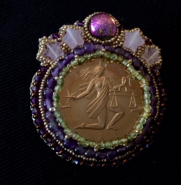 Vintage Coin Libra with Beaded Embroidery Necklace by Suzanne O'Clair