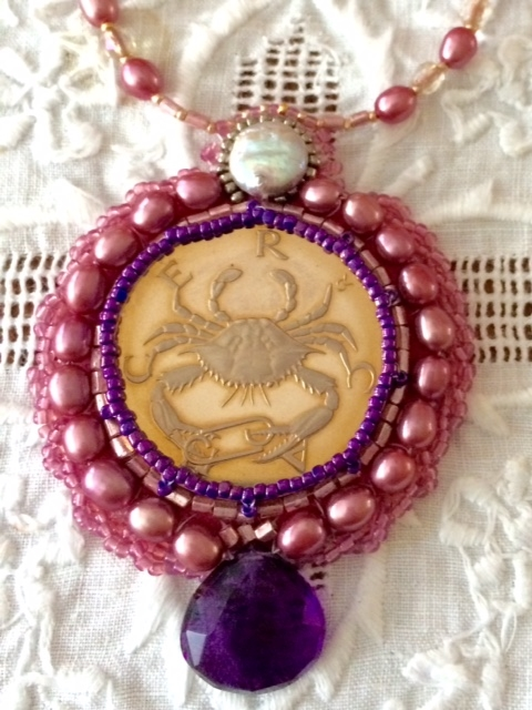 Cancer Coin Beaded Embroidery Necklace by Suzanne O'Clair. Custom orders are available.
