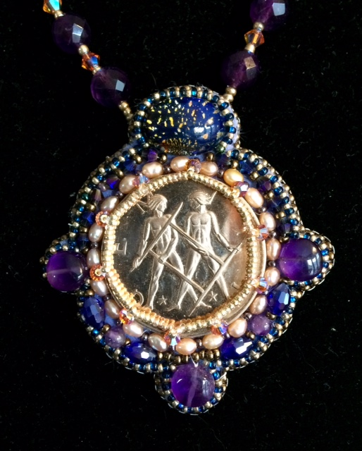 Gemini Coin & Embroidered Beading Necklace by Suzanne O'Clair