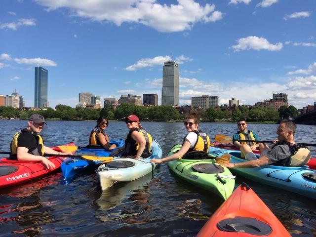 Charles River kayaking for Julia's farewell