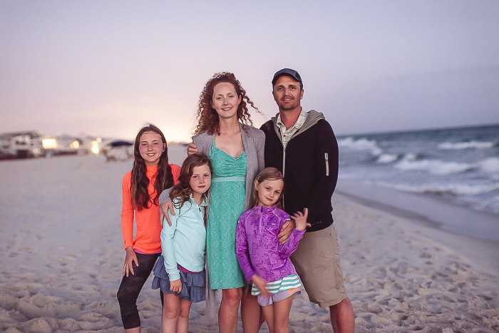 The whole Powell Tribe (Matt, Ginger, Madeline, Ella, & Claire) at the Florida Gulf Coast, our favorite place to unwind.