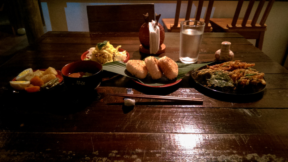 Traditional Japanese meal at posada de quirigua in the smallest town of quirigua, guatemala