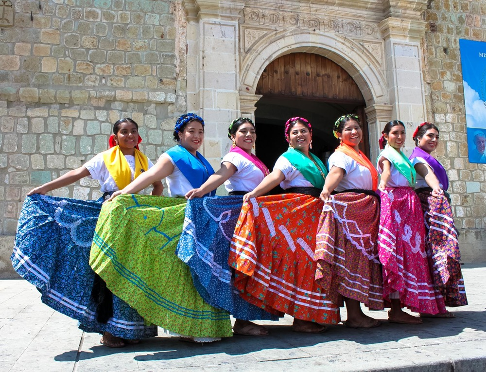 local dancers at water festival in Oaxaca