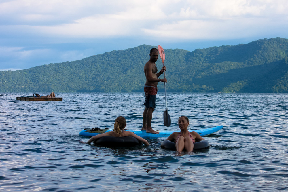 floating deck and inner tubes on laguna de apoyo