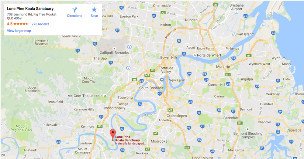 Lone Pine Koala Sanctuary Location Map