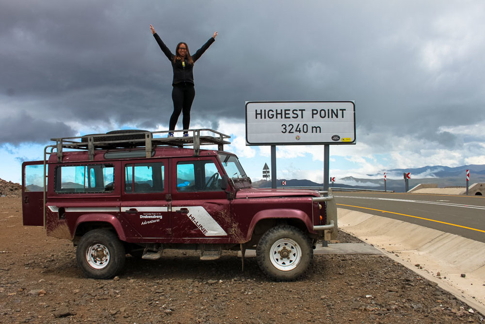 The highest point in Lesotho, made even higher from the top of my 4x4