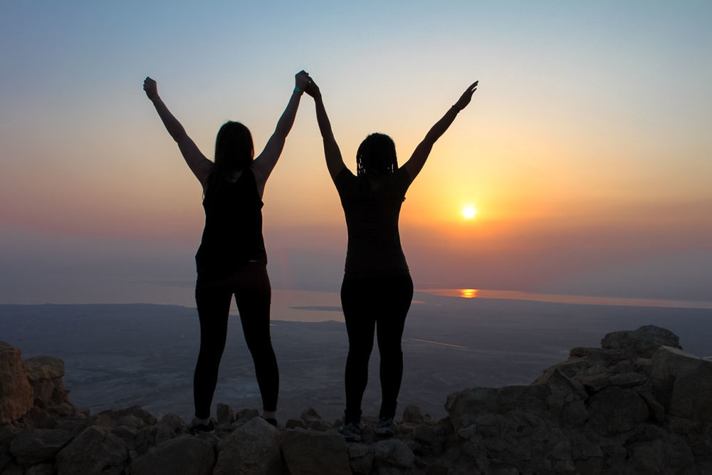 Hiking with a new friend up Masada at sunrise