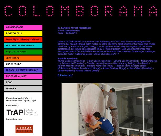 Diseño de la  página web  para la exposición de arte contemporáneo colombiano en Noruega.