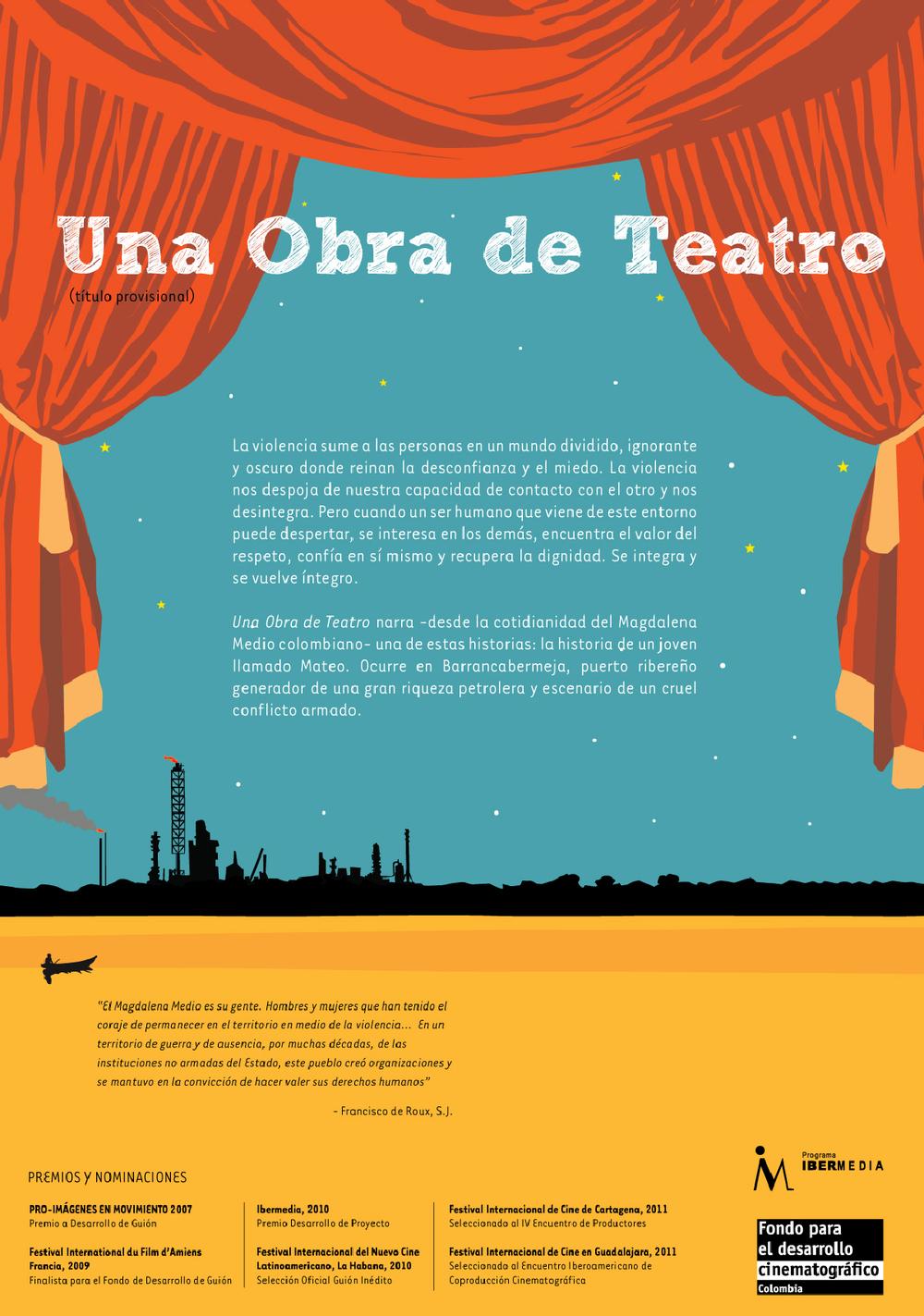 """Una Obra de Teatro -Diseño de brochure preliminar para la película """"Mateo"""" de María Gamboa."""