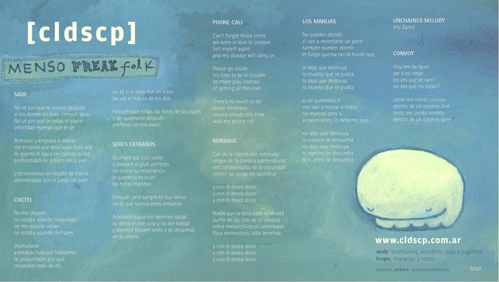 Menso FreakFolk -Diseño de carátula y cuadernillo para la banda argentina CLDSCP.
