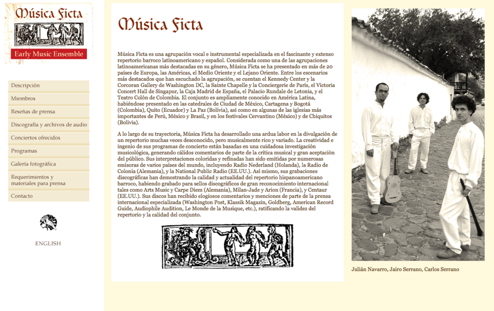 Música Ficta -Diseño de  página web .