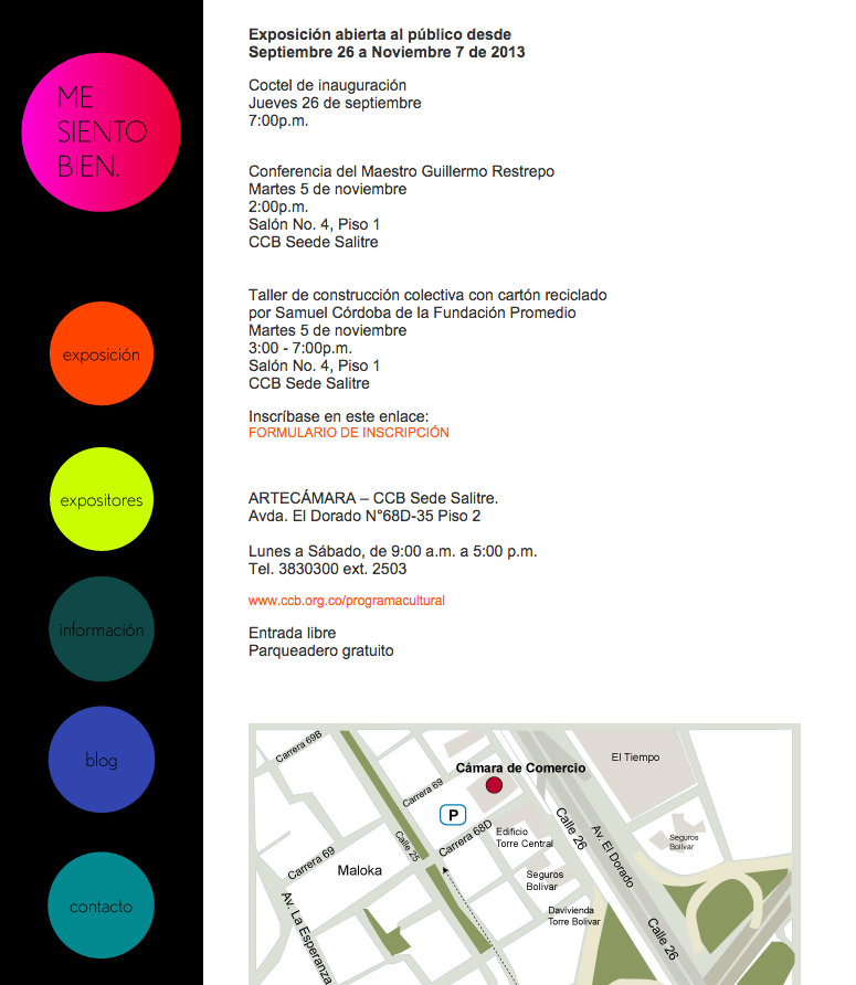 Me Siento Bien: una exposición de sillas -Diseño de la página web de la exposición
