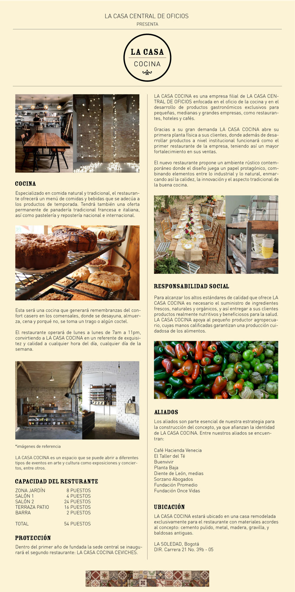 Brochure para la empresa de catering La Casa Cocina