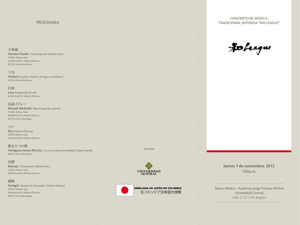 Plegable de 3 cuerpos para concierto de música japonesa.