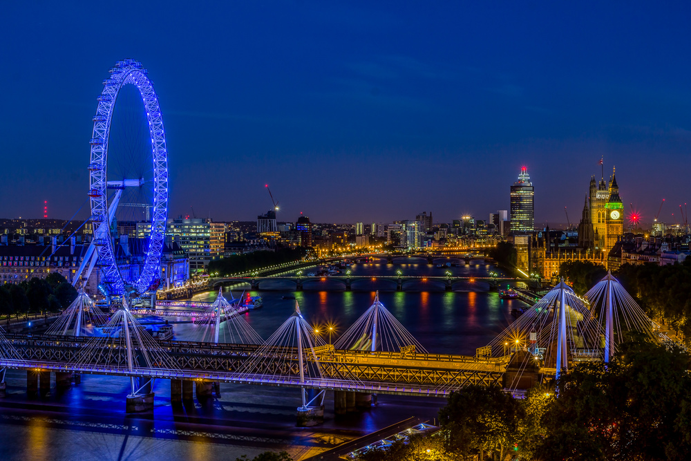 Parliament & London Eye at Night