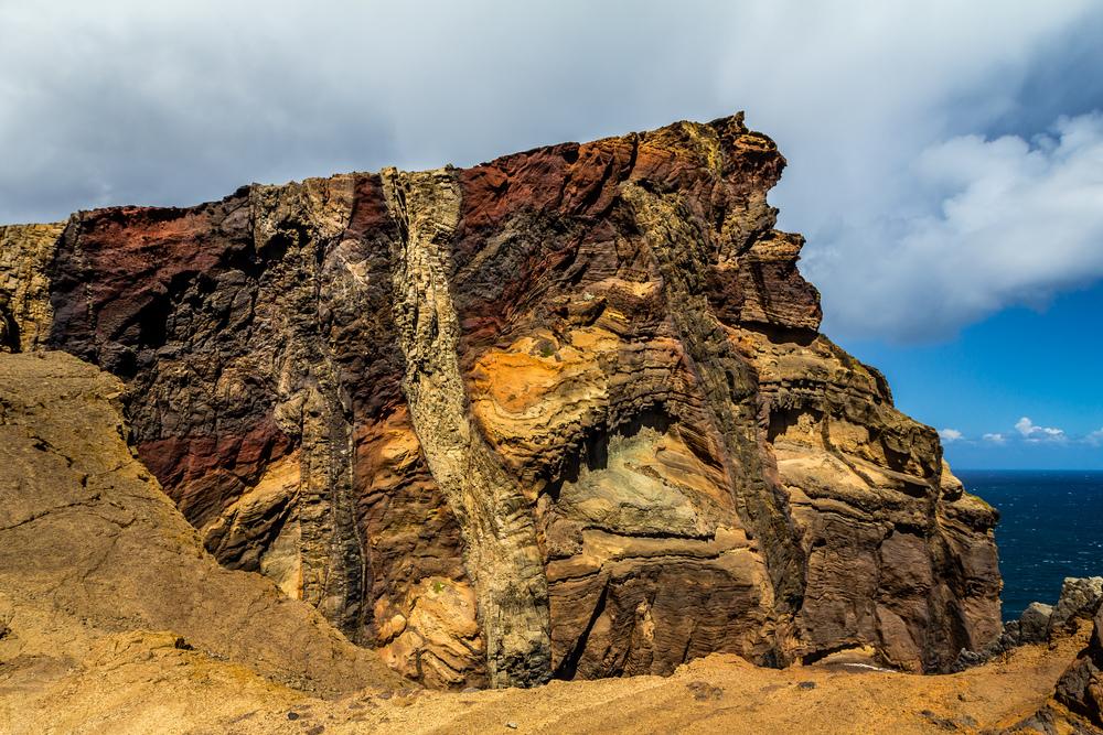 Volcanic rock detail in Ponta de São Lourenço Madeira
