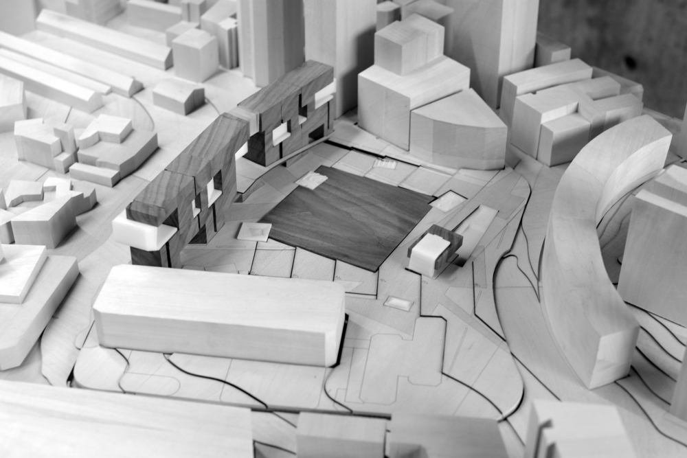 "City Hall Site Model, 1""=50', Basswood, Walnut, 3D Print"