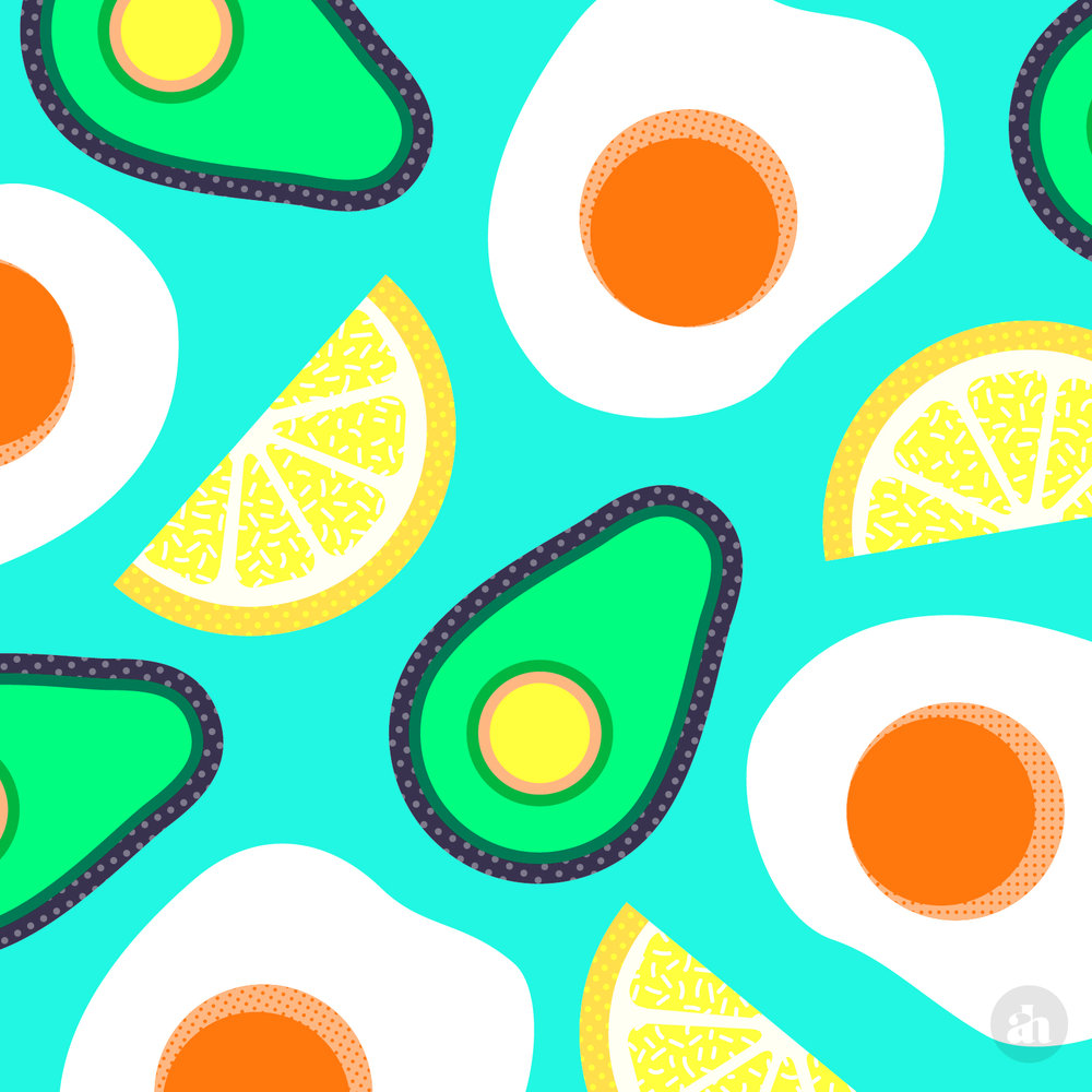 Avocado & Eggs Pattern