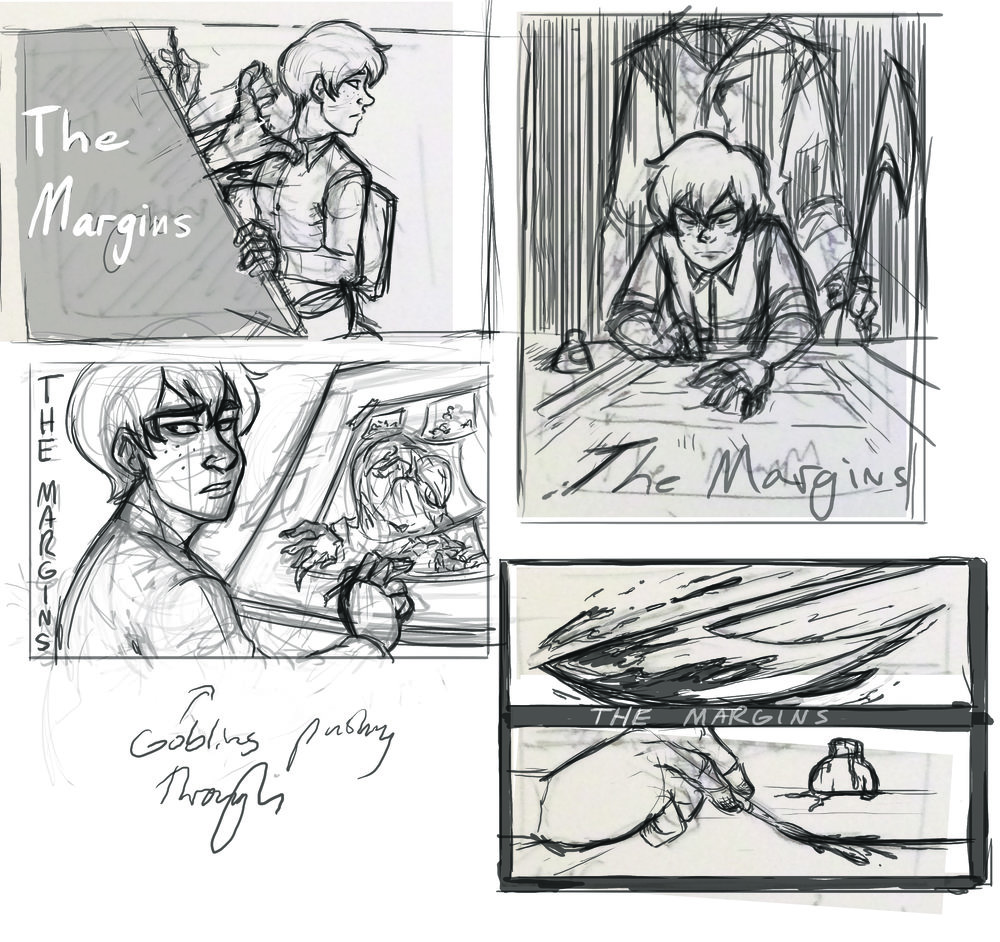 Thumbnails for early promotion art for the book