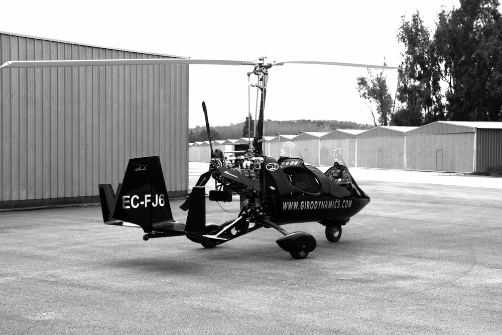 gyrocopter giro dynamics black and white rotor view