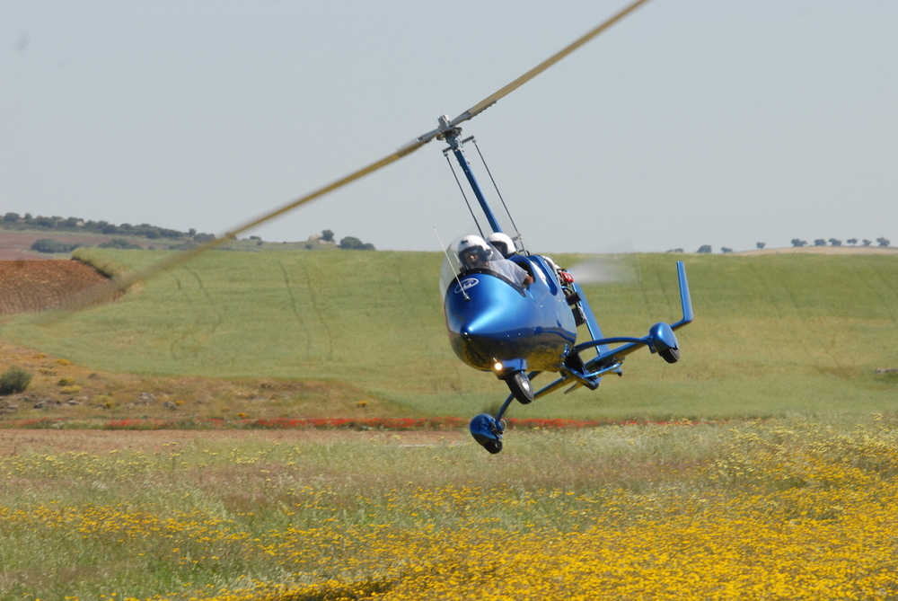 gyrocopter autogiro ela blue low-flying