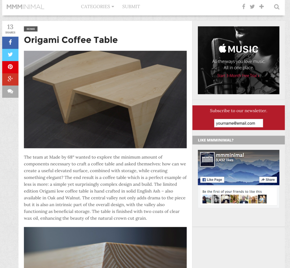 Minimal-Origami-Table