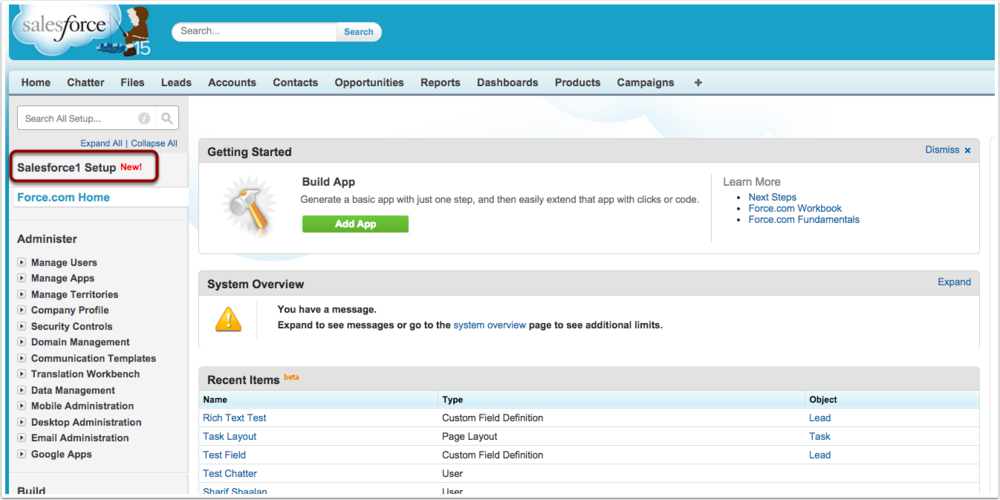 Navigate to the Salesforce1 Setup link from the Set up Menu