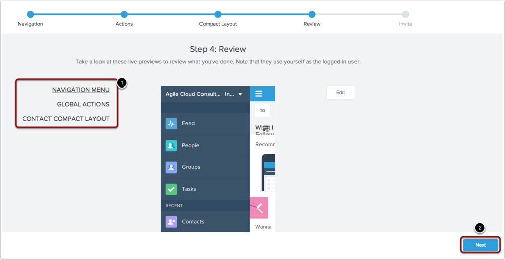 Review how your app will look by clicking on each of the above links