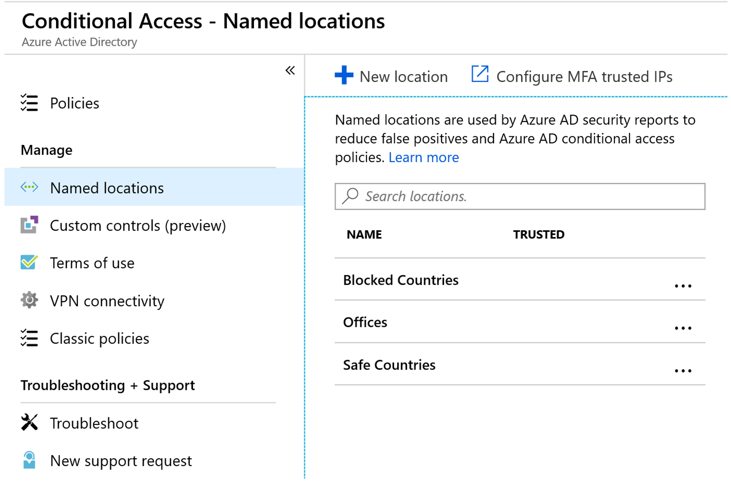 Conditional Access with Azure MFA Named Locations