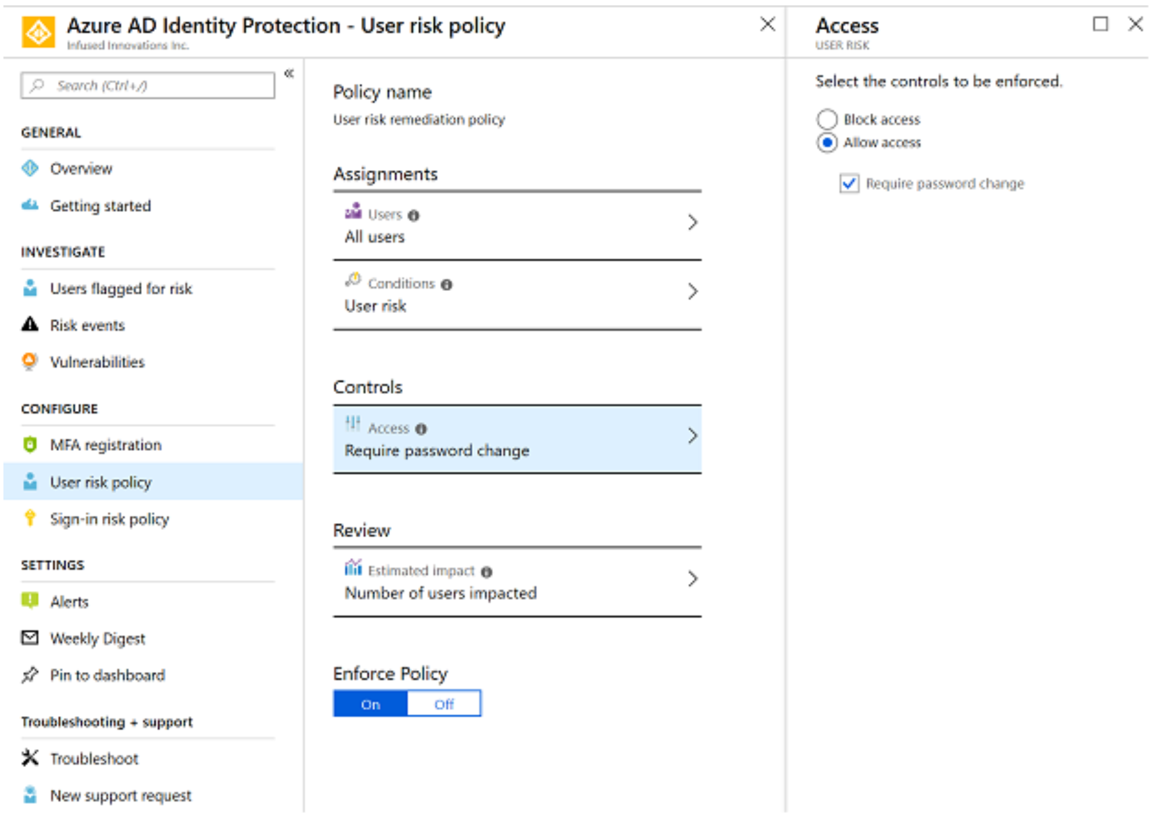 Configuring Azure AD Identity Threat Protection Policies.