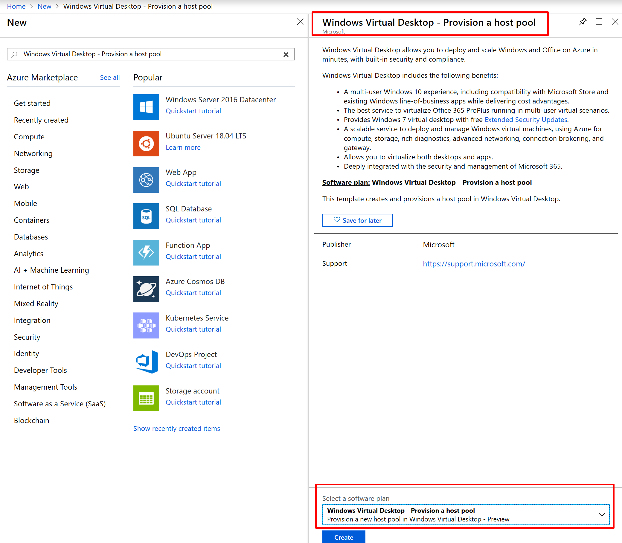 Deploy Windows Virtual Desktop from the Azure Marketplace