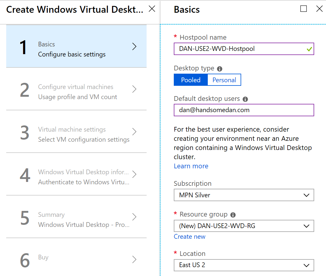 Deploy Windows Virtual Desktop Pool Provisioning Screen