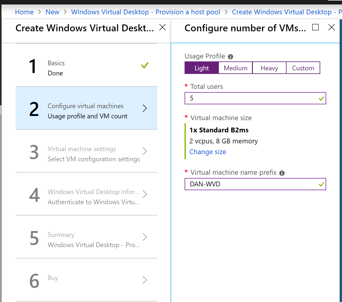 Deploy Windows Virtual Desktop VM Sizing Screen