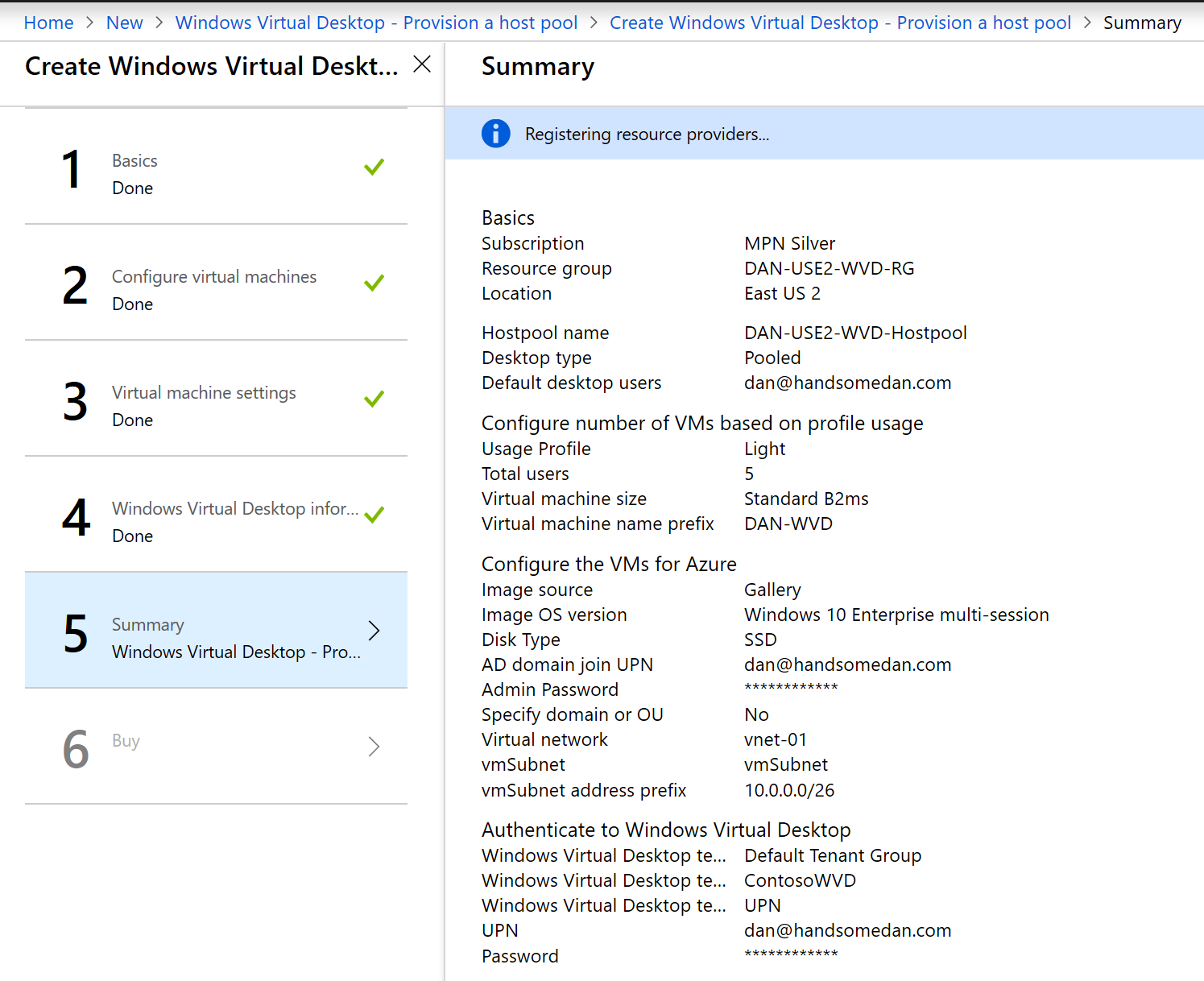 Deploy Windows Virtual Desktop in Azure Confirmation Screen