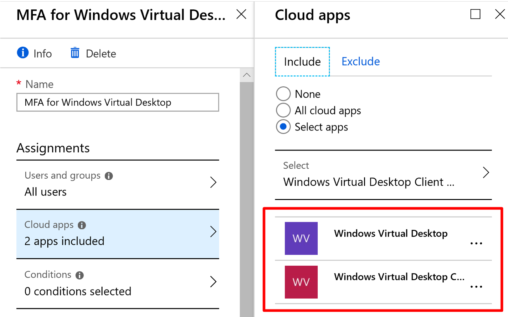Windows Virtual Desktop with MFA App Selection Screen.