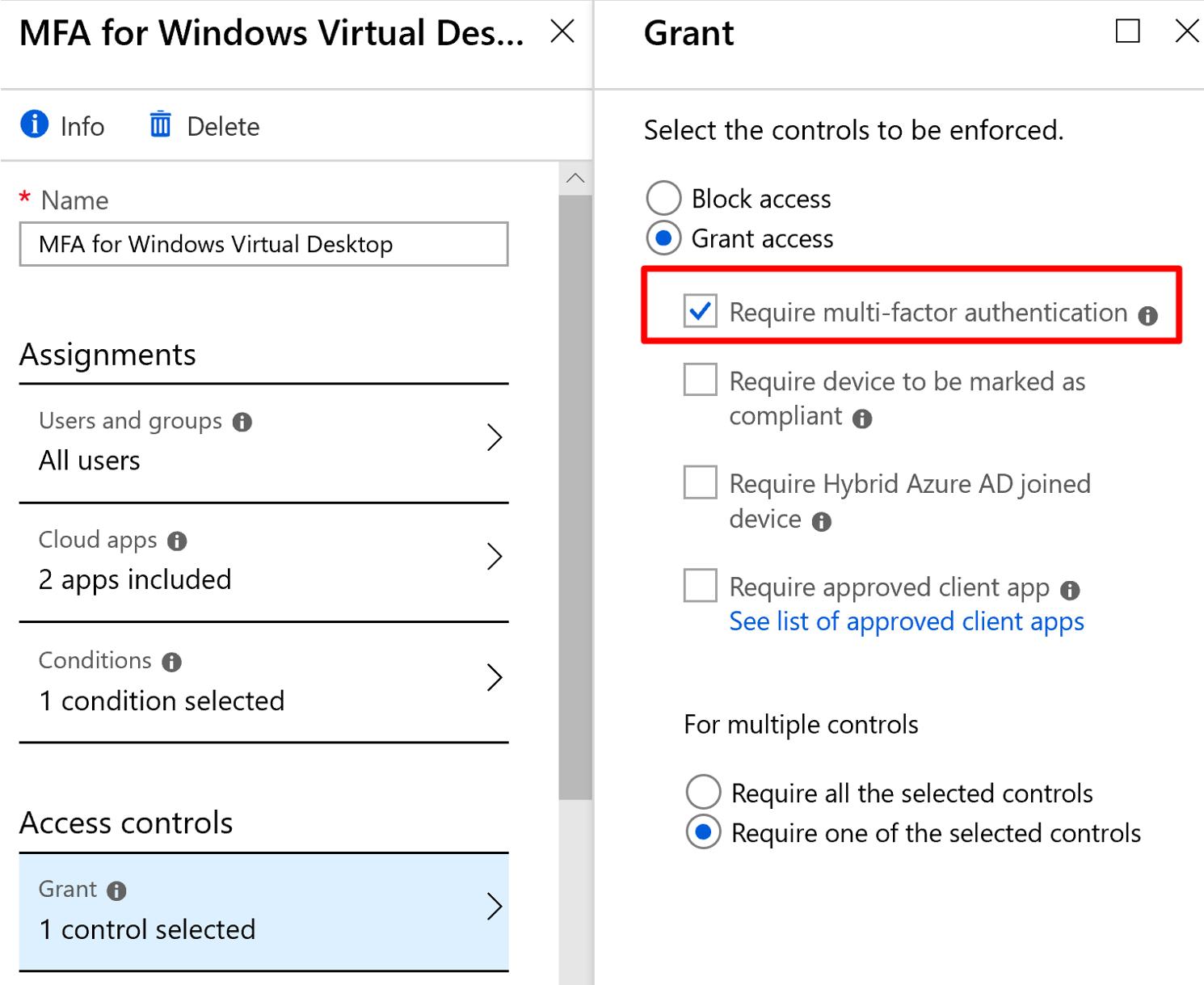 Windows Virtual Desktop with MFA Grant Access Screen