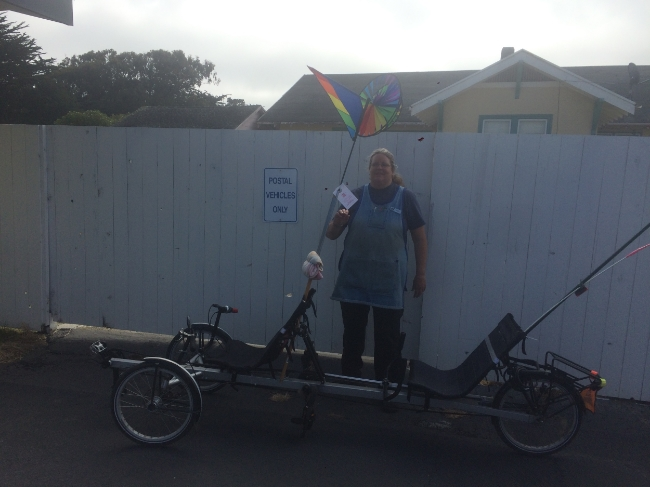 Above is Judy, post master in Westport with her own touring setup, that she takes her friend around in.  She is also a proud Warm Showers member!  Thanks so much for helping me get some stuff shipped home!