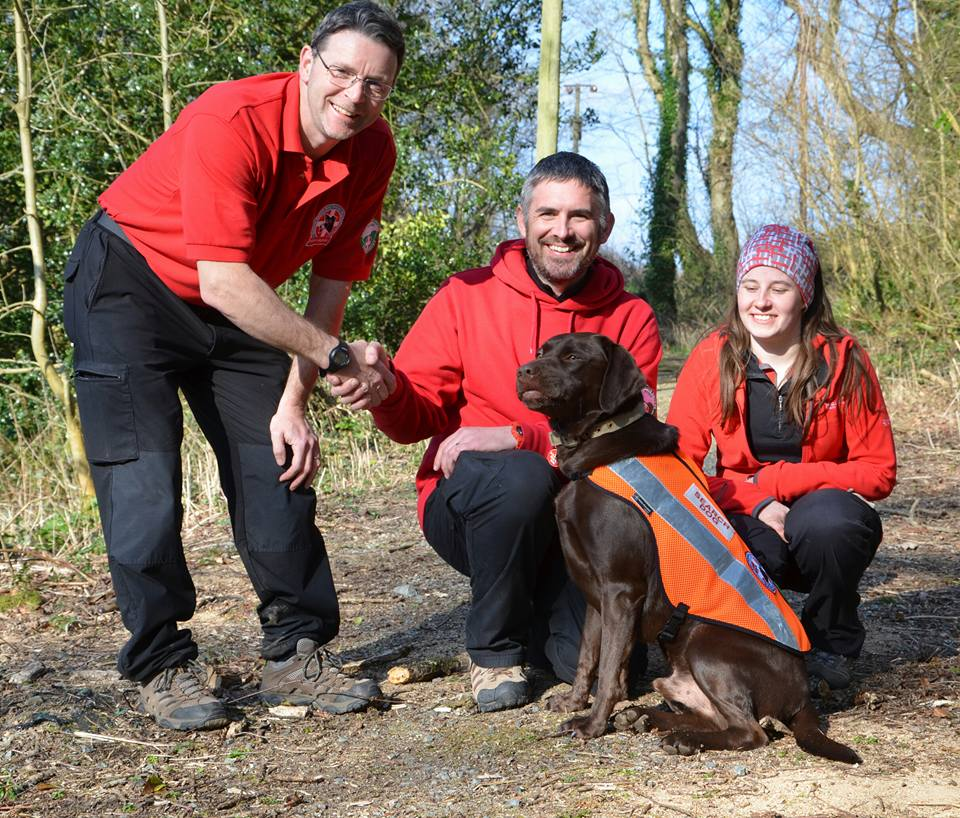 Dog Team Lead Dave, Handler James, Search dog Jake and Dog's Body Amy