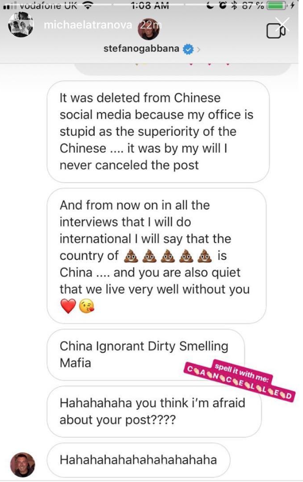 """Screenshots of Gabbana's Messages - Schuyler, Lindsey, and Tony Liu. """"Diet Prada ™ on Instagram: 'As @Dolcegabbana Prepares to Mount Their next Runway Show in Shanghai This Coming Evening (7:30PM) and the Rest of Instagram Fawns over..."""