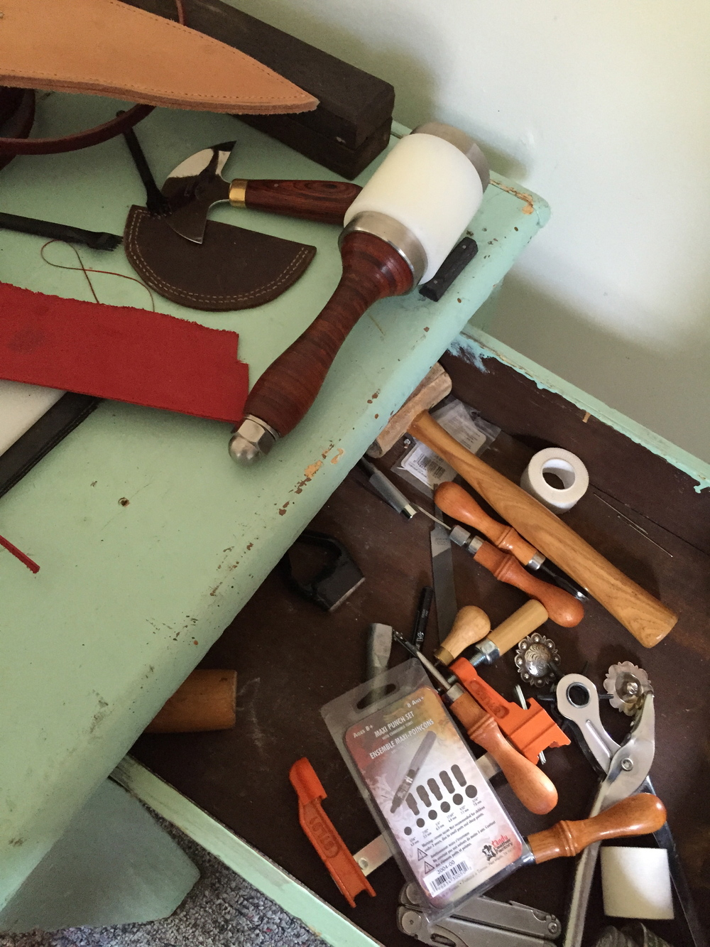 Leather tools and desk