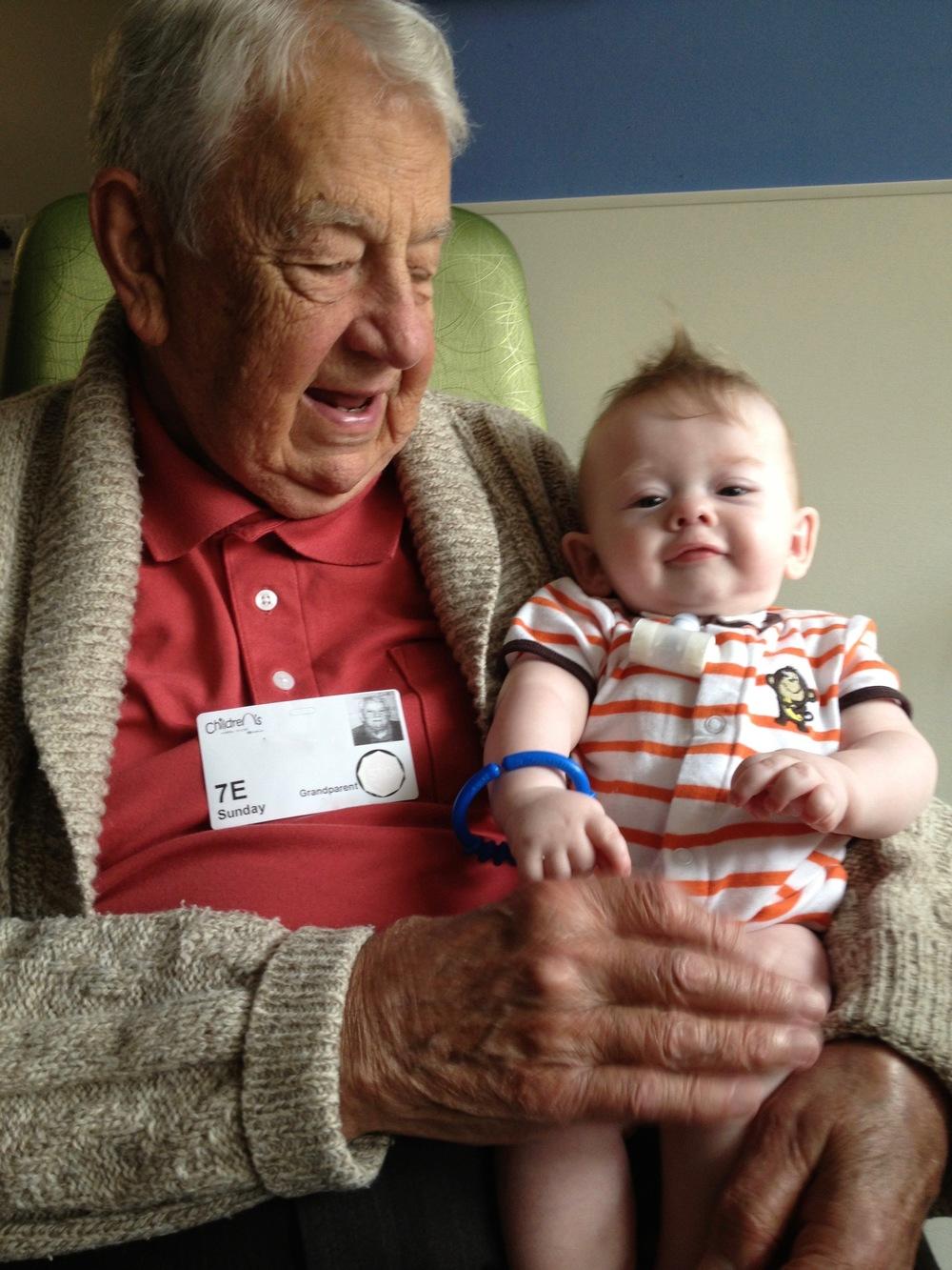 Grandpa Rankin meeting Nathaniel, summer 2013.