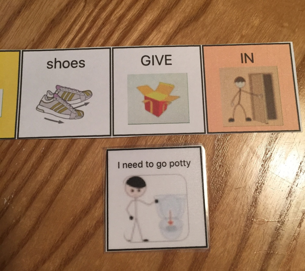 "For printing quality comparison: GIVE, IN, and ""I need to go potty"" were created by printing cropped images from SFY message window.  Shoes was created on Custom Boards."