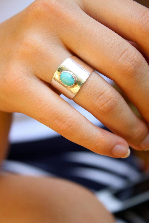 Bezel Set Turquoise, Sterling Silver