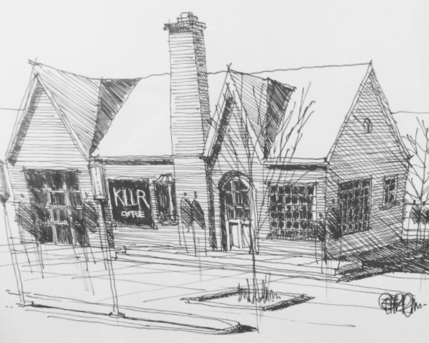 A sketch of KLLR Coffee HQ by the talented folks at  405 Architecture