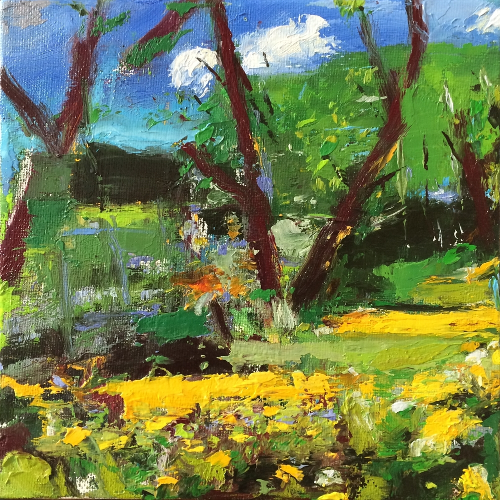 """Dandelions""  oil on canvas  6""x6""  2016"